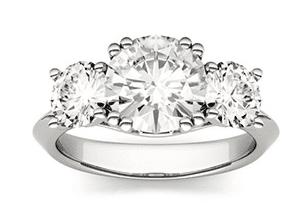 3 stone moissanite engagement ring in white gold