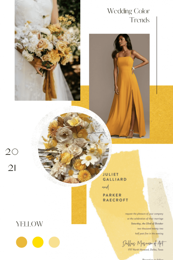 Marigold Yellow Wedding Color Trend Collage for Inspiration