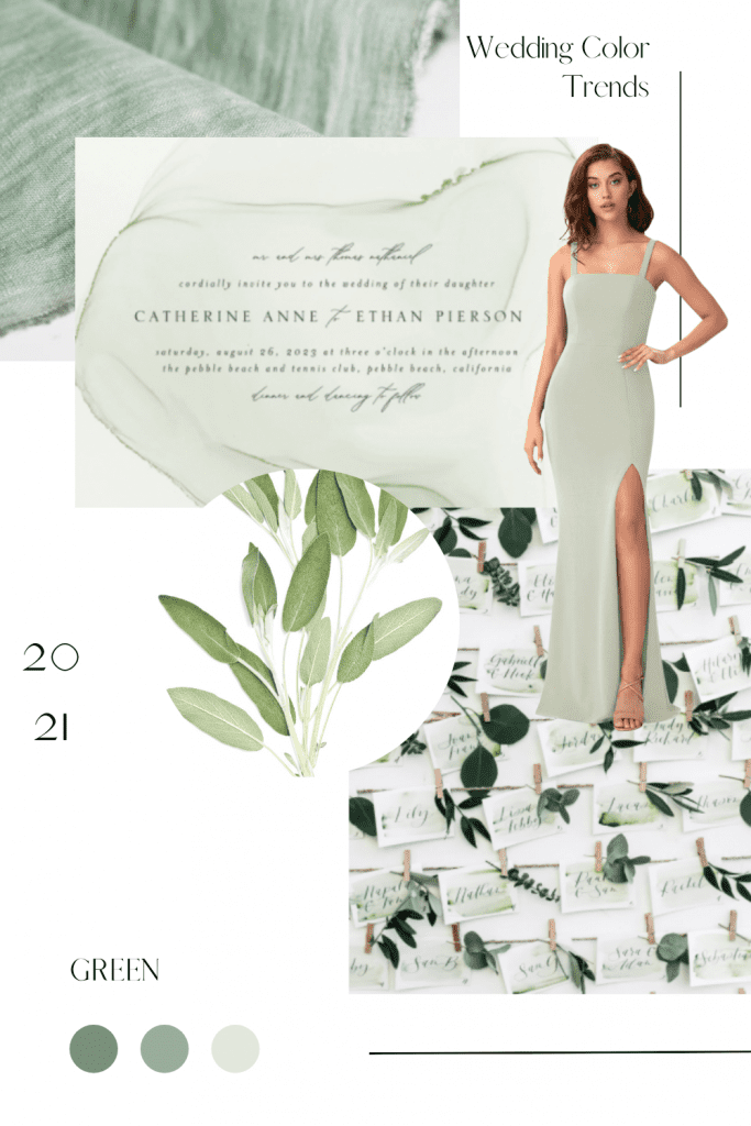 2021 Green Collage of Wedding Color Trends and Inspiration